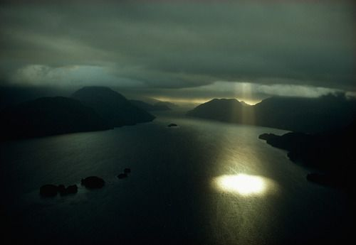 Aerial view of Dusky Sound near the southwestern tip of South...