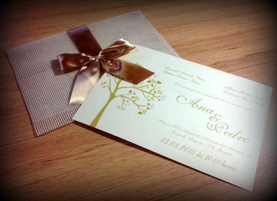 Convite Casamento - Sonho dourado | Vintagge Conviteria | Elo7