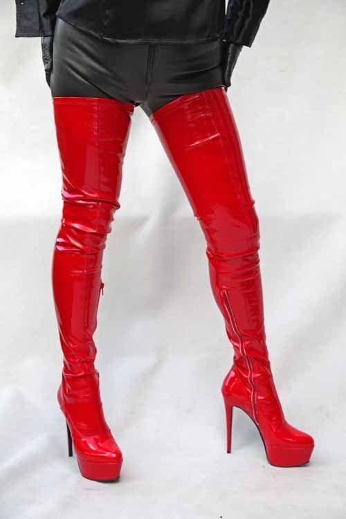 overknee stiefel rot lack