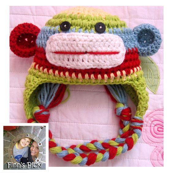 """My son Finn picked today's knithack - it's a cute one! """"Finn's Pick: Sock Monkey Hat"""" #crochet #sockmonkey #rainbow"""