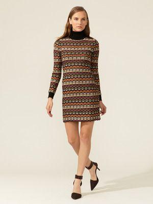 M Missoni   Graphic Knit Turtleneck Dress