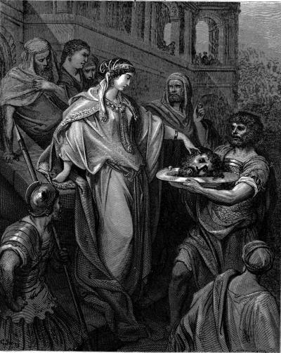 Samaria (ciudad)     La hija de Herodes recibe la cabeza de Juan Bautista- Dibujo realizado por Gustave Doré (artista francés, 1832-1883