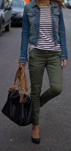 Olive green jean outfit ideas. May sub out a white tee for the striped but like the jean/olive green combo!