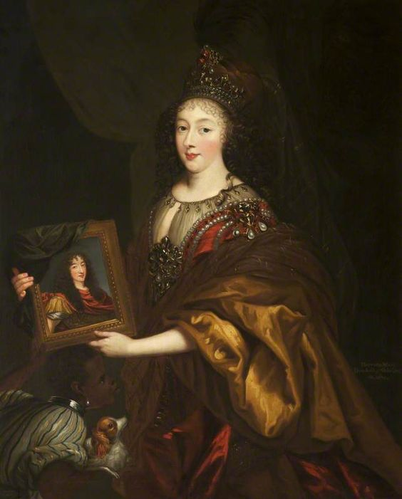 Henrietta of England, Minette, duchesse d'Orleans (1644–1670), holding a portrait of her husband, Philippe de France, Monsieur, duc d'Orleans (1640-1701), 1660's by Henri Beaubrun le jeune and Charles Beaubrun