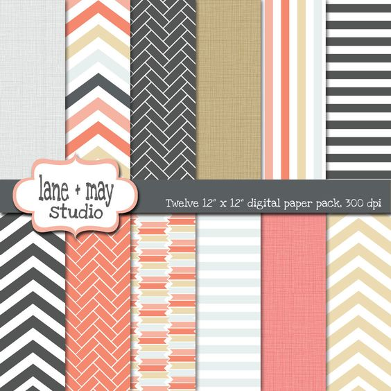 coral gray and khaki digital scrapbook papers by laneandmay, $5.00