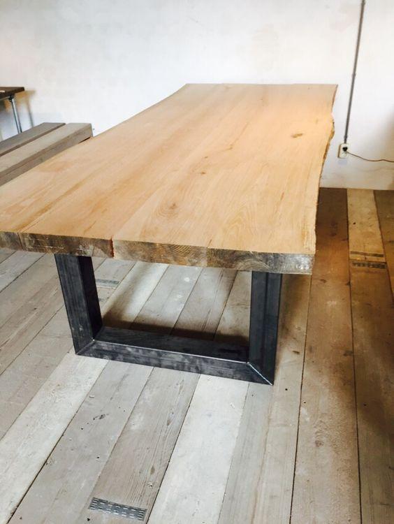Boomstam tafel : tafel met eikenblad en ijzeren onderstel www.houtenzo ...
