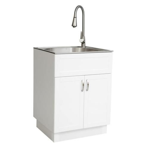 Transform 21 34 In X 24 17 In 1 Basin White Freestanding Stainless