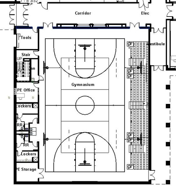 Elementary school building design plans protsman for How much is it to build a basketball gym