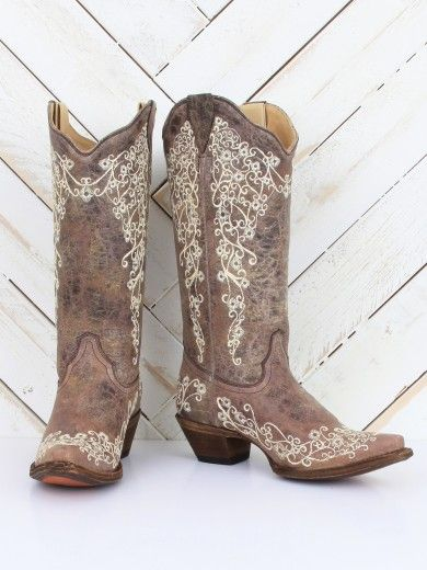 Corral Vintage Brown Crater Bone Embroidery Boots