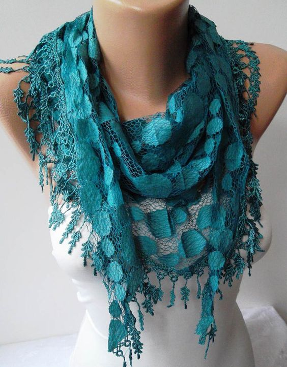 Turqouise Blue Lace Scarf  with Trim Edge by SwedishShop on Etsy, $17.90