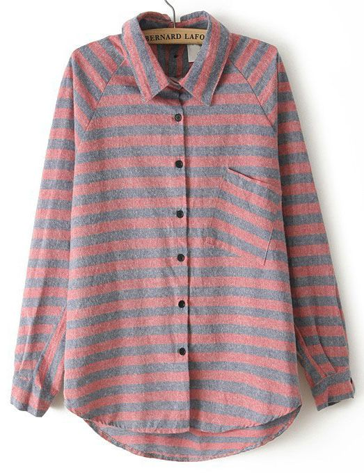 Red Lapel Long Sleeve Striped Loose Blouse - Sheinside.com