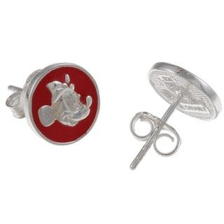 Disney's Minnie Mouse Sterling Silver Red Enamel Stud Earrings | Overstock.com $17