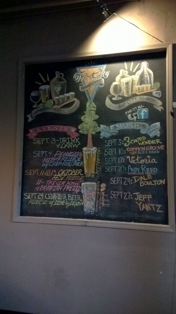 Septembers Chalk Board at Tri-City Brewing Company.