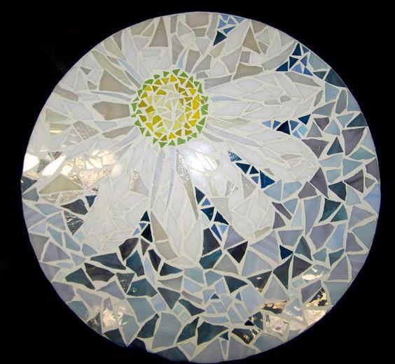 Mosaic Lazy Susan Daisy by HeatherMBC on Etsy, $135.00