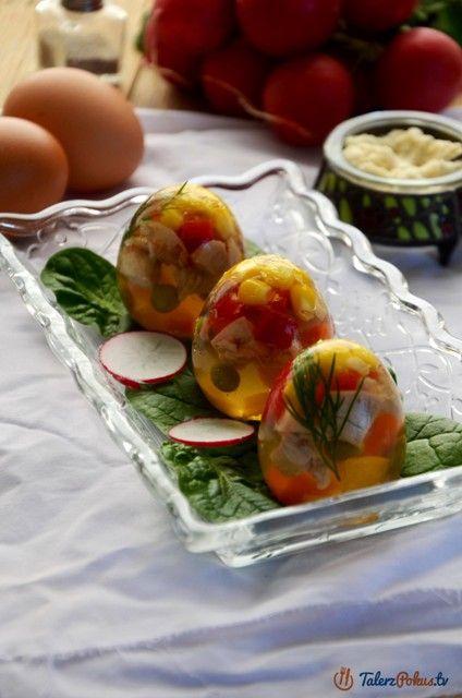 Przepisy » Przekąski i przystawki » Wielkanoc » Przyjęcia małe i duże » Jajka galaretki z kurczakiem i warzywami » TalerzPokus.tv - przepisy kulinarne z filmami