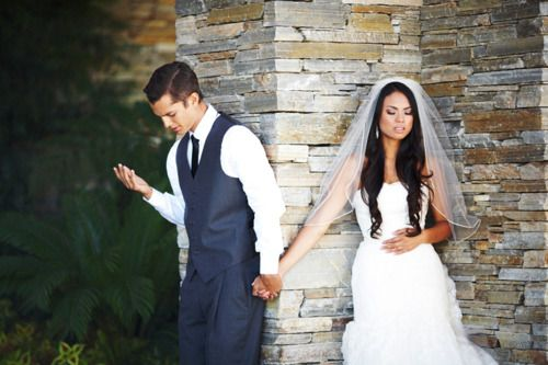 They wanted to pray together but not see each other before the wedding.... HOW CUTE!