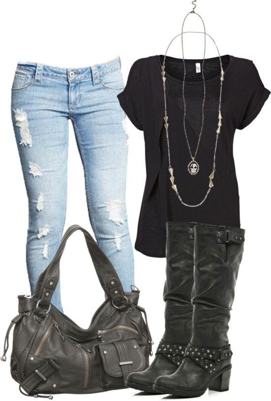 light blue jeans, black boots, black bag, black top, outfit ...