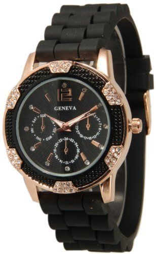 Women's Black Rose Gold Geneva Faux Chronograph Silicone Watch with Crystal Rhinestones Bezel Geneva. $12.60. Silicone Style Soft, Bendable, Flexible Band. Approximately 1.5 inches face. Very fashionable and stylish. Makes a great gift!. Easy Read Numbers. Japan Quartz Movement