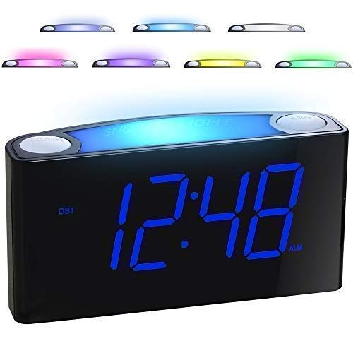 Mesqool Bedroom Alarm Clock With Night Light Usb Charger Kids