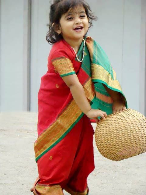 Doesn't she look adorable in this traditional Maharastrian ...