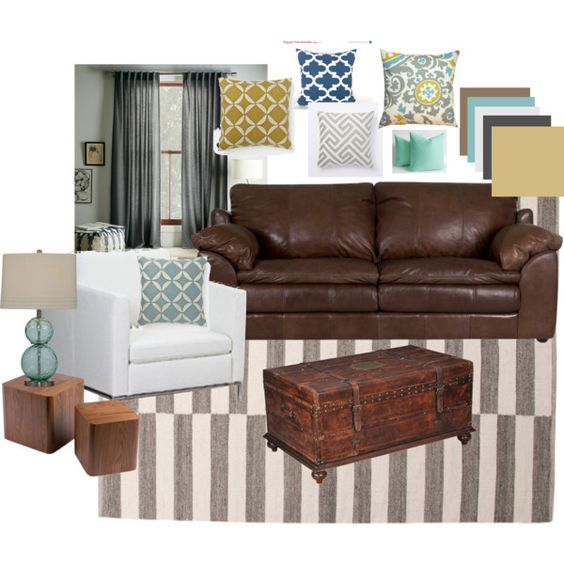 Living room? brown leather blues, grays, and yellows Apartment - brown leather couch living room