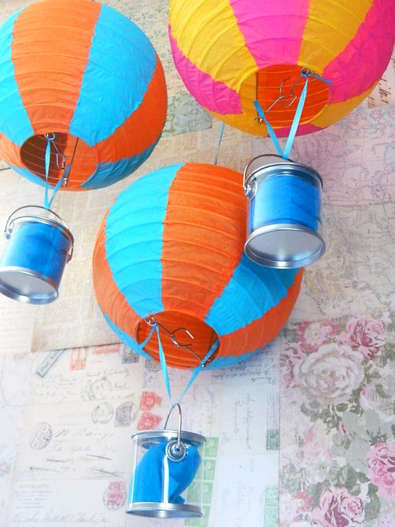 Hot Air Balloon Lantern Centerpiece : Hot air balloon paper lanterns ellen milhoan julie
