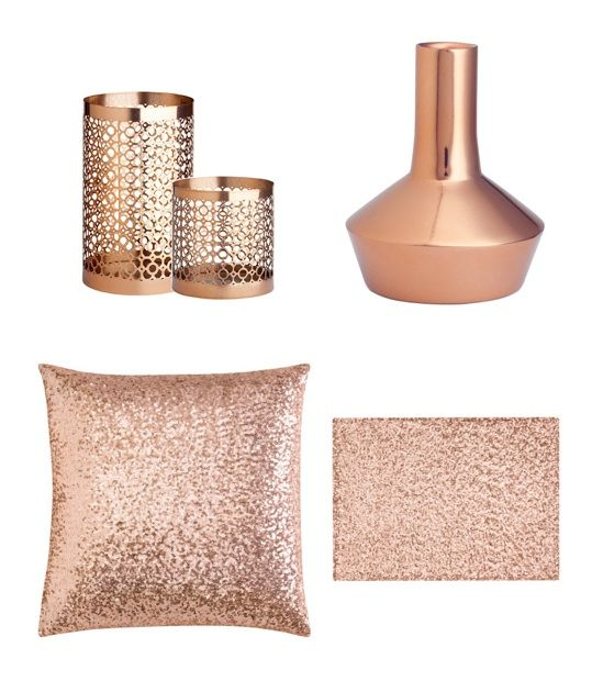 Copper accents would look so warm and lovely in my living for Decoration rose gold