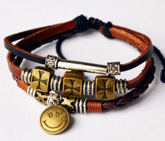 Pendant Bracelet Leather Bracelet Bangle Bracelet by littlemistore, $6.80