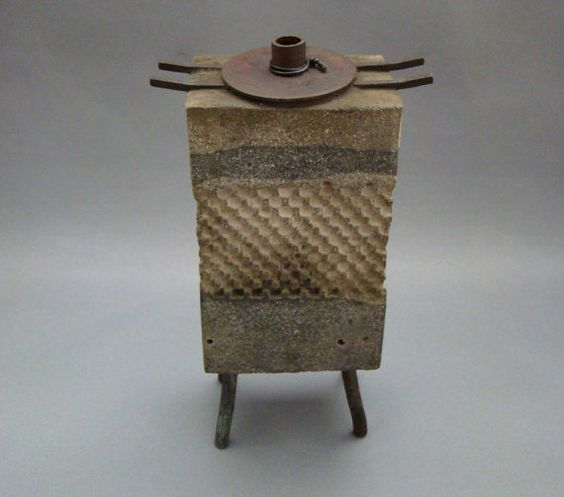 TEA HOUSE MOON - A Cast Stone Textured Vase of Small Proportions with Iron and Steel | The Ceremonial Home on Etsy