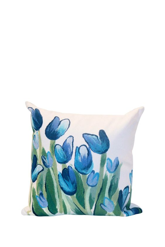 "Liora Manne Scattered Tulip Indoor/Outdoor Pillow - Blue - 16"" Square"
