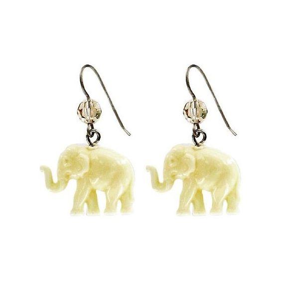 Tarina Tarantino Tiny Caravan Earrings (£13) ❤ liked on Polyvore featuring jewelry, earrings, ivory pendant, swarovski crystal pendant, ivory elephant pendant, dangle earrings and elephant ivory jewelry