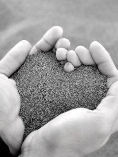 one of each of your hands and Xavier's print in the sand :)