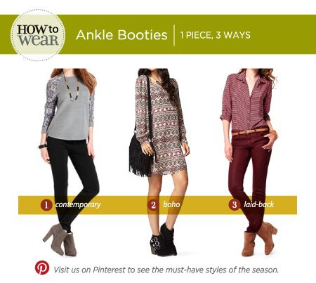 Whether you prefer contemporary, boho, or a laid-back look, ankle booties are the perfect accessory for your Fall look!