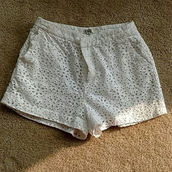 White Crochet Shorts High waisted and shirt. Tag says a 4, but fits like a 2! Great condition only worn once. BB Dakota Shorts