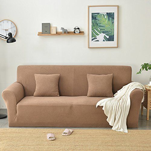 Gaofan Sofa Cover Polyester And Spandex Solid Color Stain Resistant Knitted Sofa Slipcover Protector For Living Room Slipcovered Sofa Plush Sofa Brown Loveseat