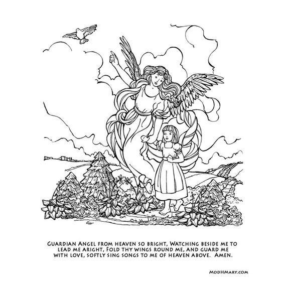 coloring pages of guardian angels - photo#13