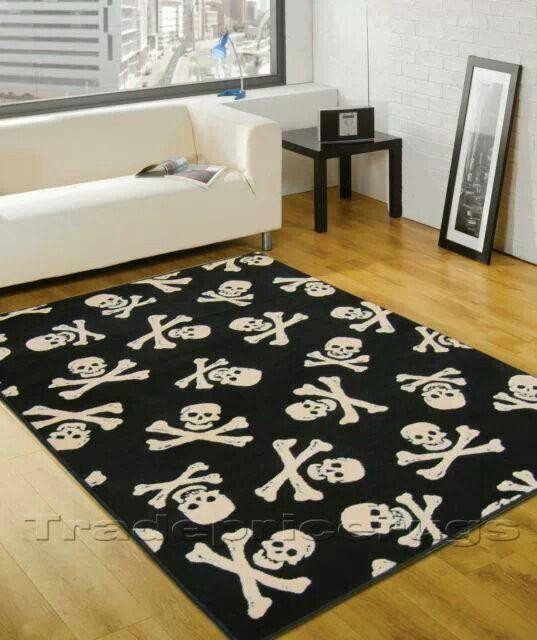 Skull and crossbones rug