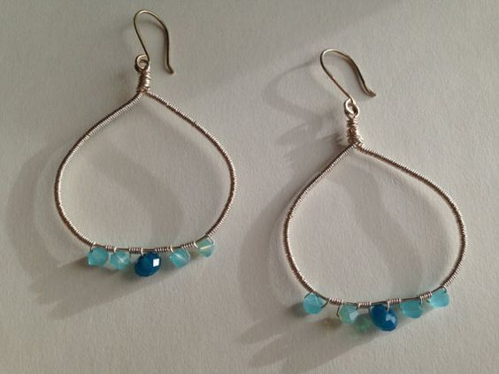 Sky and Ocean Blue Crystals and Sterling Silver by poppyetpeach, $40.00