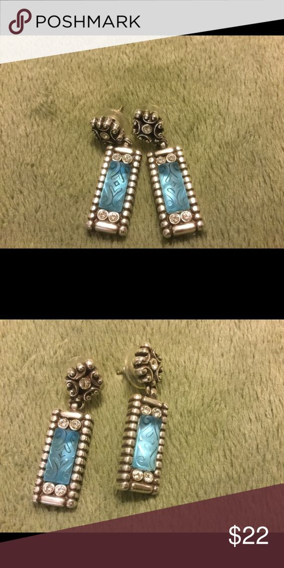 Brighton Earrings NEW, never been worn, genuine Brighton Earrings. They are a pretty aqua blue with Brighton embellishments and detail.  It looks like blue water. Brighton Jewelry Earrings