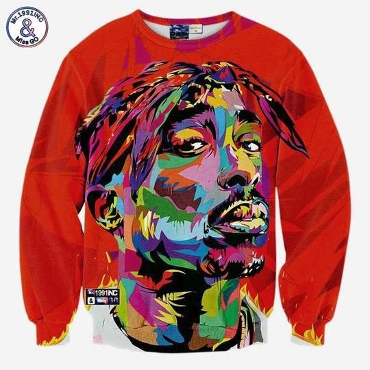 Hot Mens Women Retro Tupac 2Pac 3D Print Hoodie Casual Sweatshirt Pullovers Tops