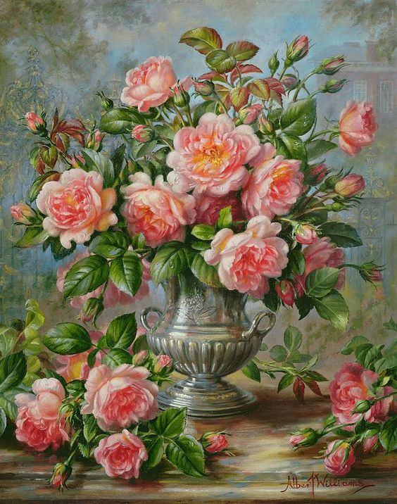 Albert Williams (1922-2010)  — English Elegance Roses In A Silver Vase(708x900):