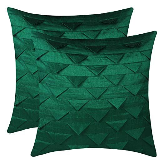 The White Petals Set Of 2 Emerald Green Throw Pillow Covers Origami Style Textured Solid Emerald Green Throw Pillows Green Accent Pillow Green Pillow Covers