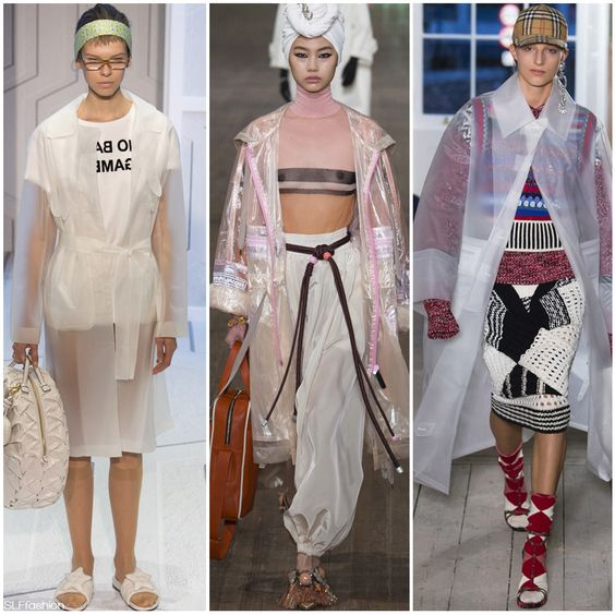 Fashion Trend for Spring Summer 2018: See-through semi-sheer plastic raincoats.  Anya Hindmarch LFW, Marc Jacobs NYFW, Burberry LFW, Spring Summer 2018.