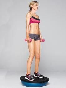 Bosu ball balance squat.  Do 15 reps followed by 10 jump squats as part of your next legs and abs circuit.
