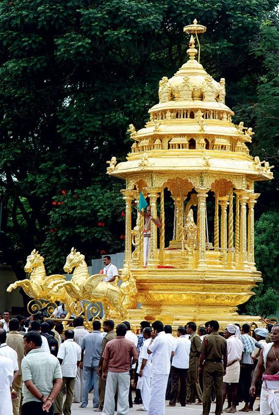 The new Golden Chariot of Tirumala Venkateswara [Balaji] from the famous temple of Hindus, located in Tirumala - the hill town - near Tirupati in Chittoor district of Andhra Pradesh. From Hyderabad, the Balaji Temple is around 600 km; about 138 kms from Chennai, Tamil Nadu, and about 291 kms. from Bangalore, Karnataka, India.