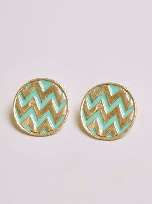 turquoise and gold chevron earrings