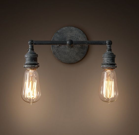 Above the vanity of master bath you will need two 20th c factory filament bare bulb double Restoration bathroom lighting