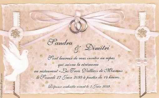 carte invitation mariage modele