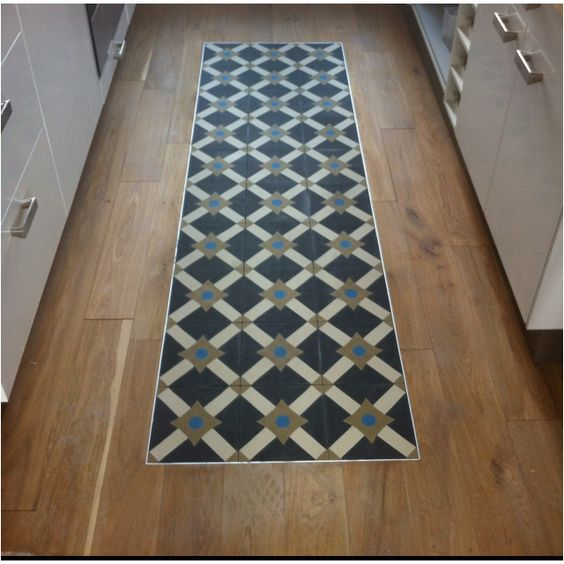 un tapis de carreaux de ciment au milieu du parquet m lange l gant et original home sweet. Black Bedroom Furniture Sets. Home Design Ideas