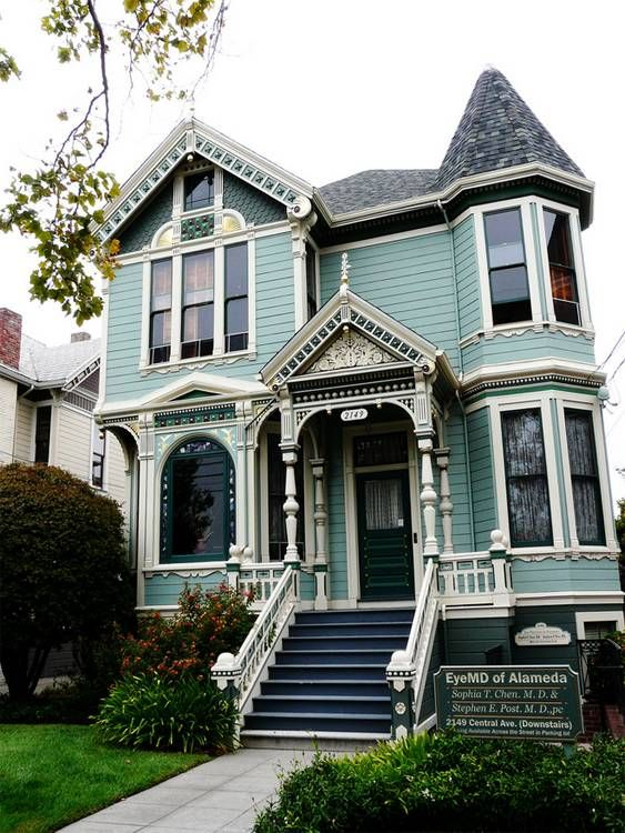 Victorian House In Blue Casas Victorianas Casas Estilo Victoriano Casas Antiguas